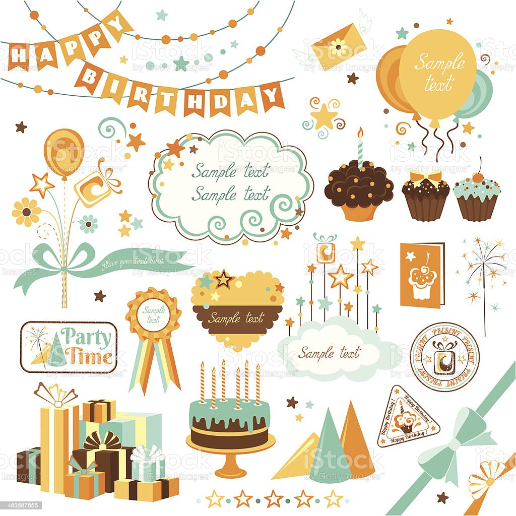 Set of celebration design elements vector art illustration
