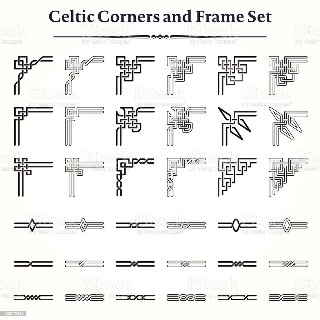 Set of Celtic Corners and Frames vector art illustration