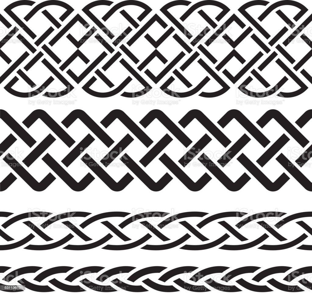 Set of Celtic Pattern Borders vector art illustration