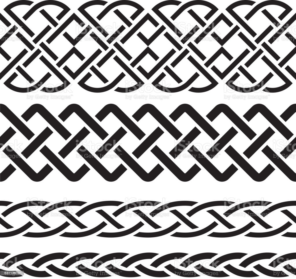 Set of Celtic Pattern Borders vector art illustration