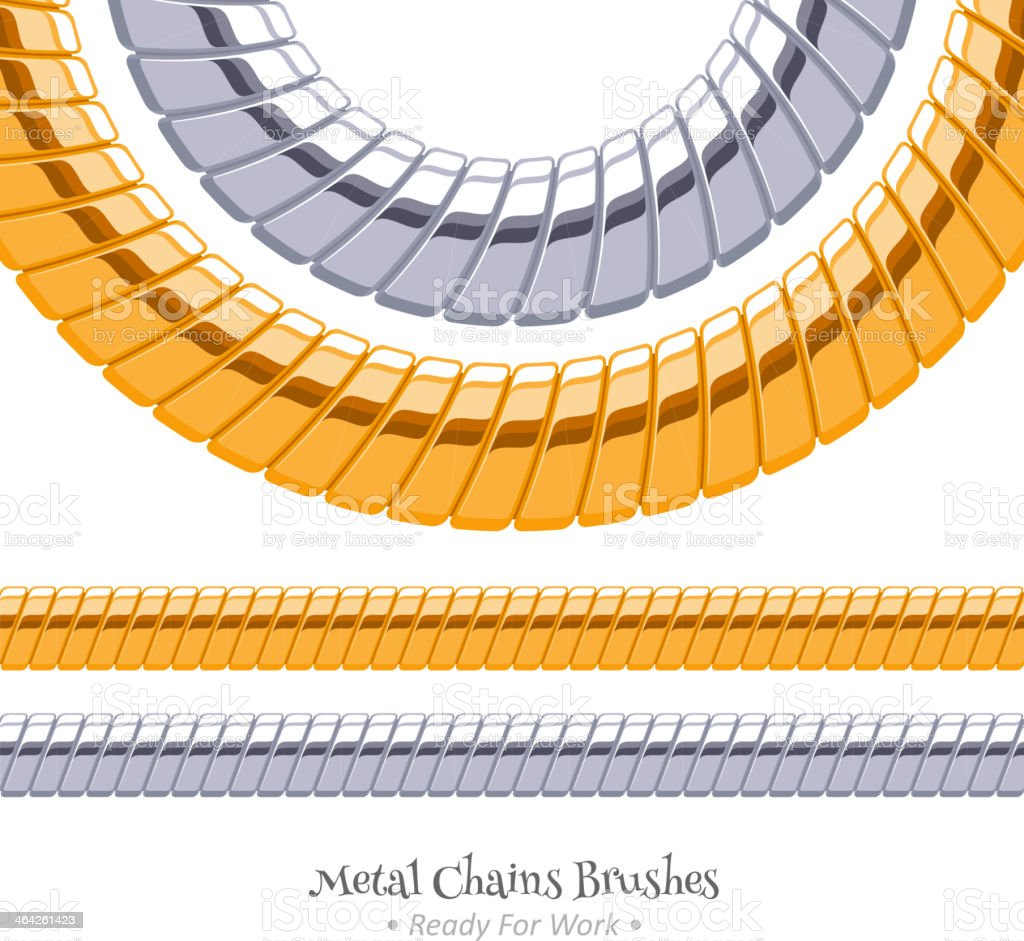 Set of chains metal brushes - golden and silver. vector art illustration