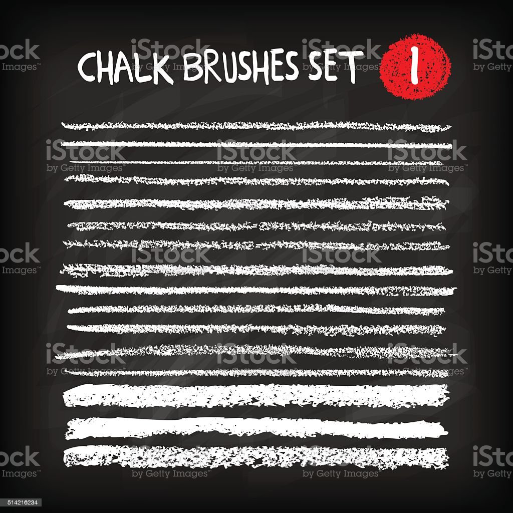 Set of chalk brushes vector art illustration