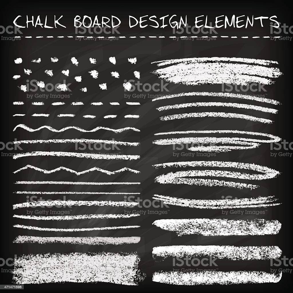 Set of chalk strokes vector art illustration