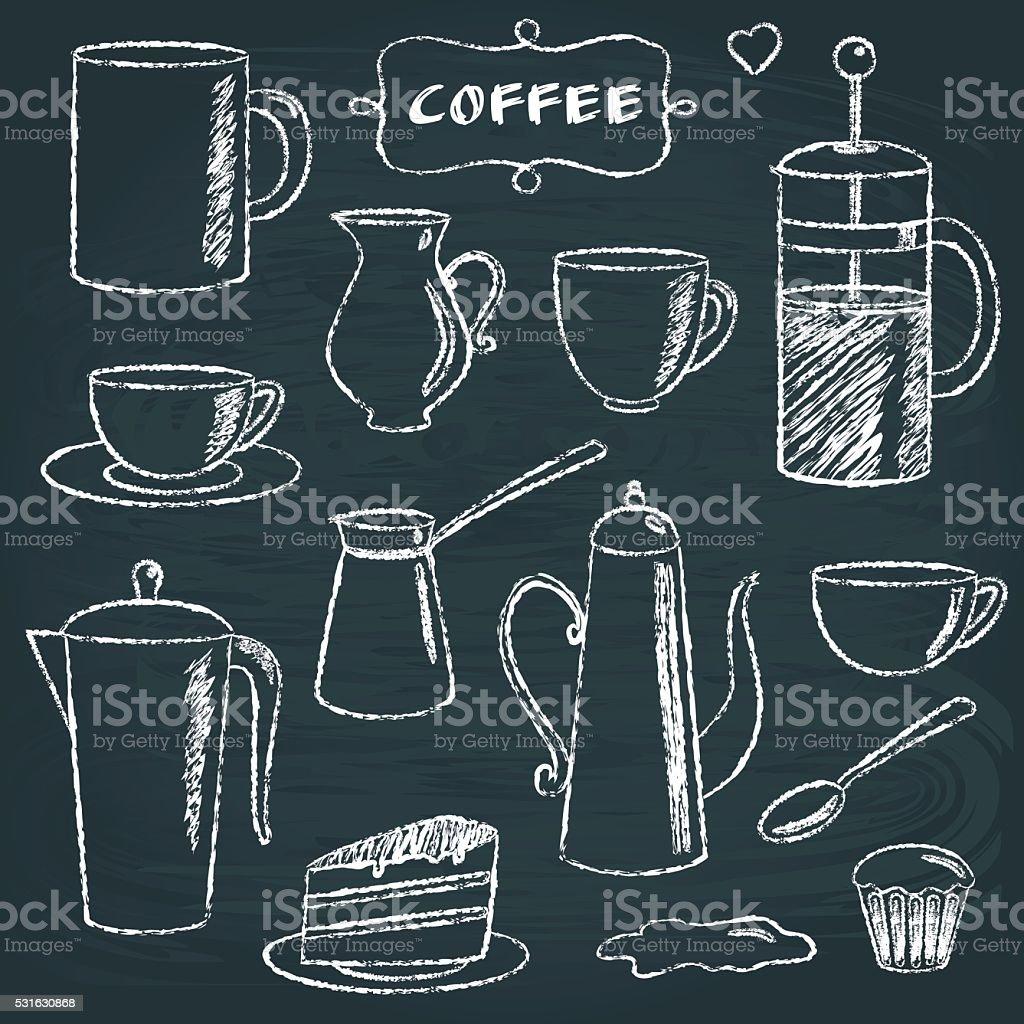Set of chalkboard coffee items vector art illustration