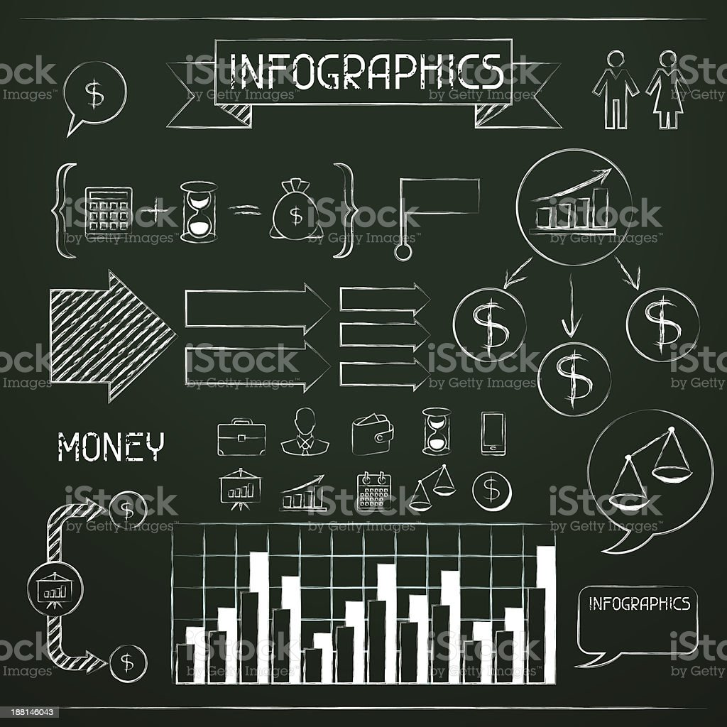 Set of chalkboard infographics and business icons. vector art illustration