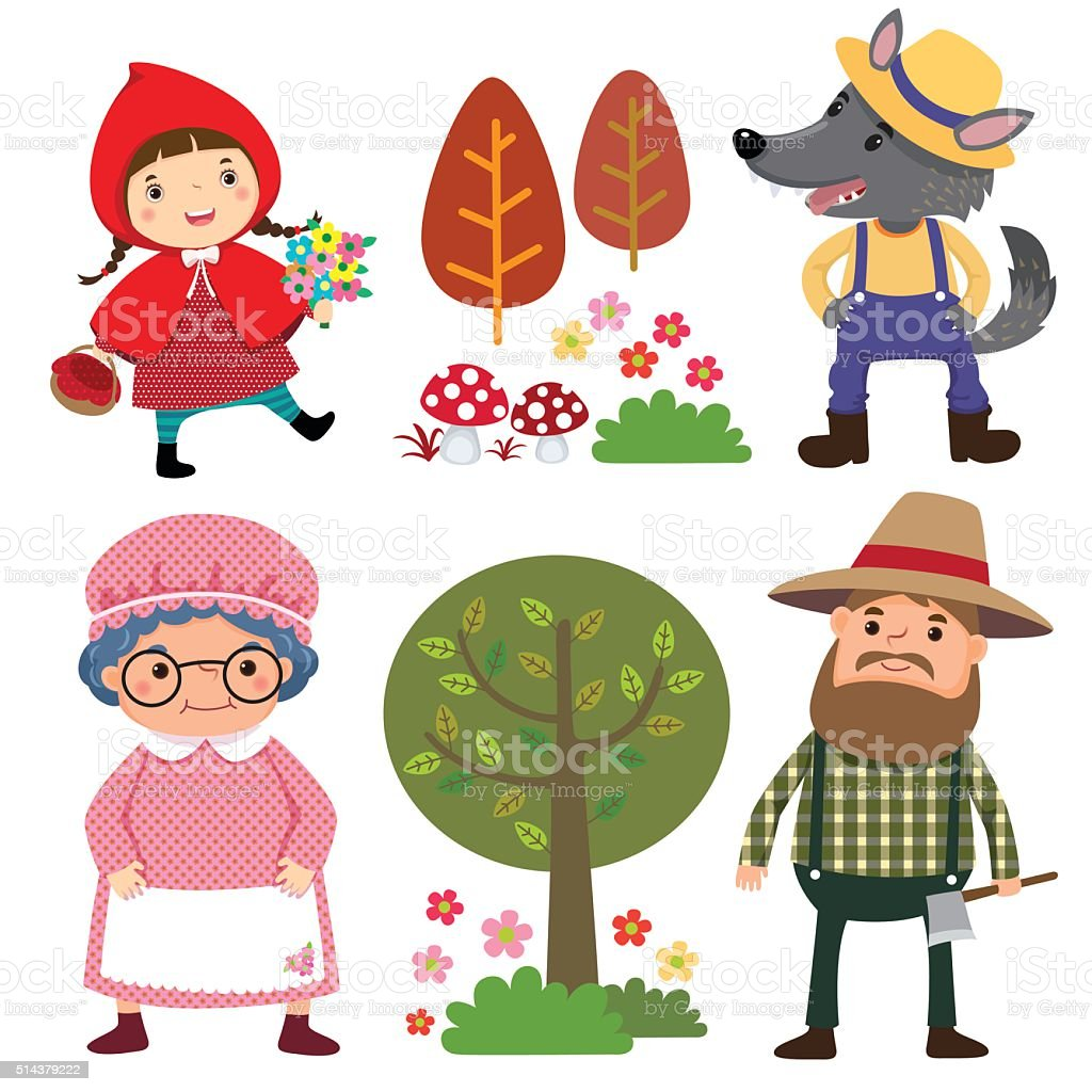 Set of characters from Little Red Riding Hood fairy tale vector art illustration