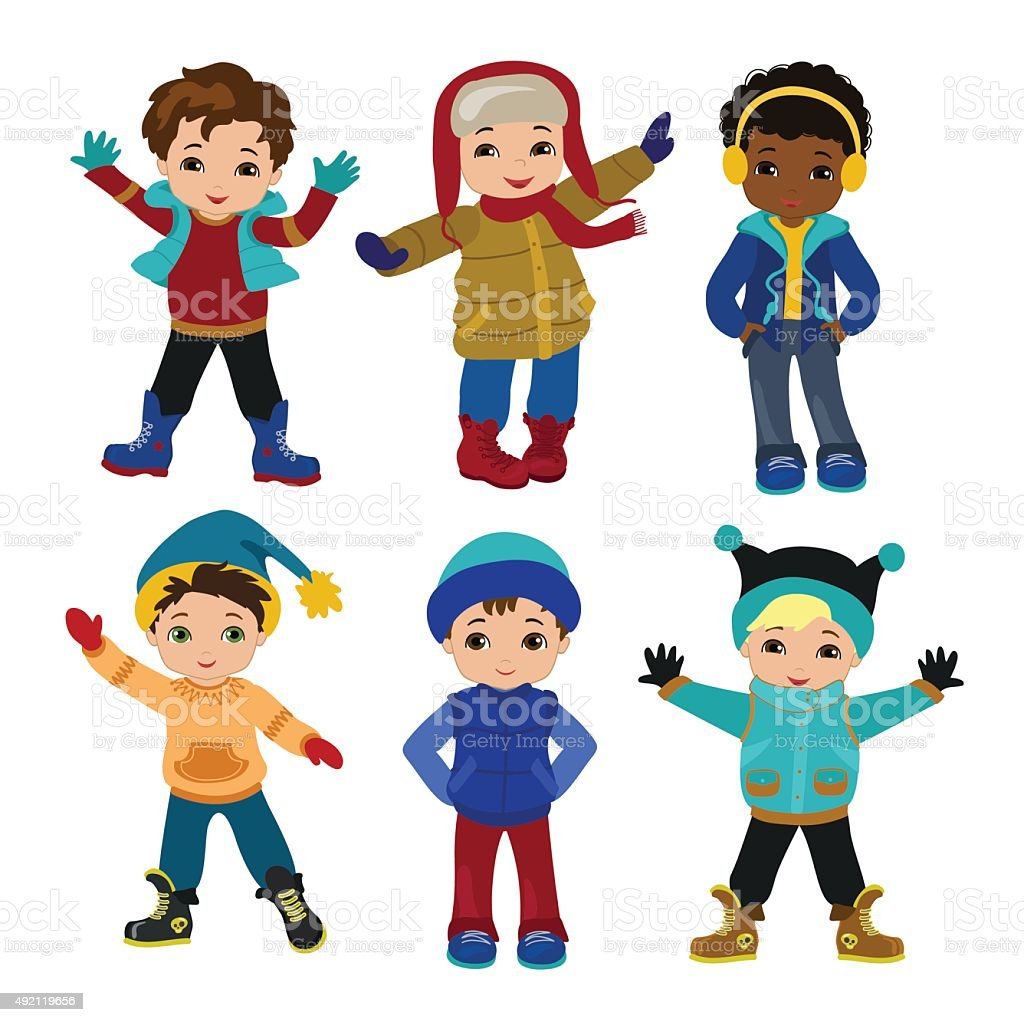 Set of characters funny boys in winter. vector art illustration