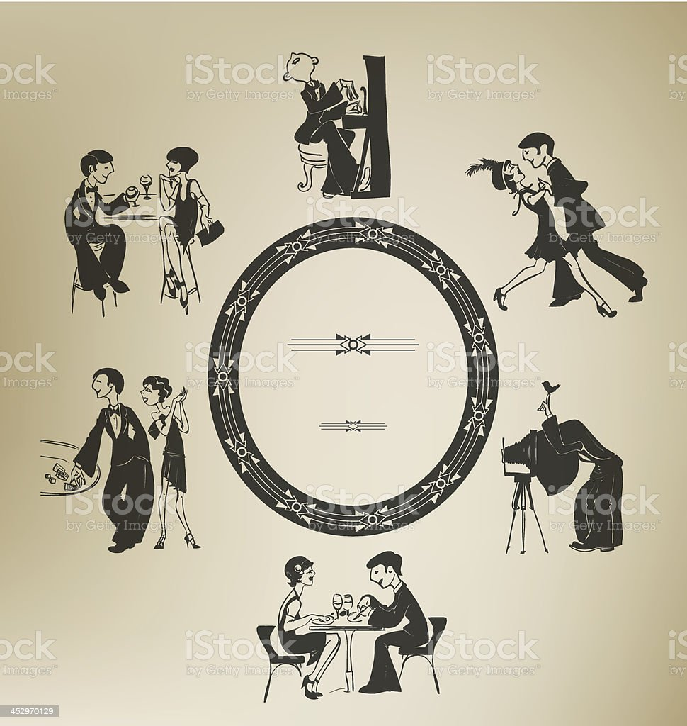 Set of characters in vintage party activities. Retro stylized. vector art illustration