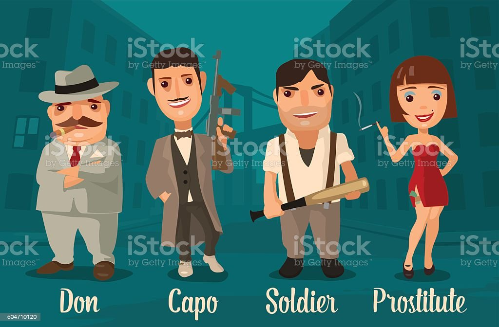 Set of characters Mafia. Don, capo, soldier, prostitute. vector art illustration