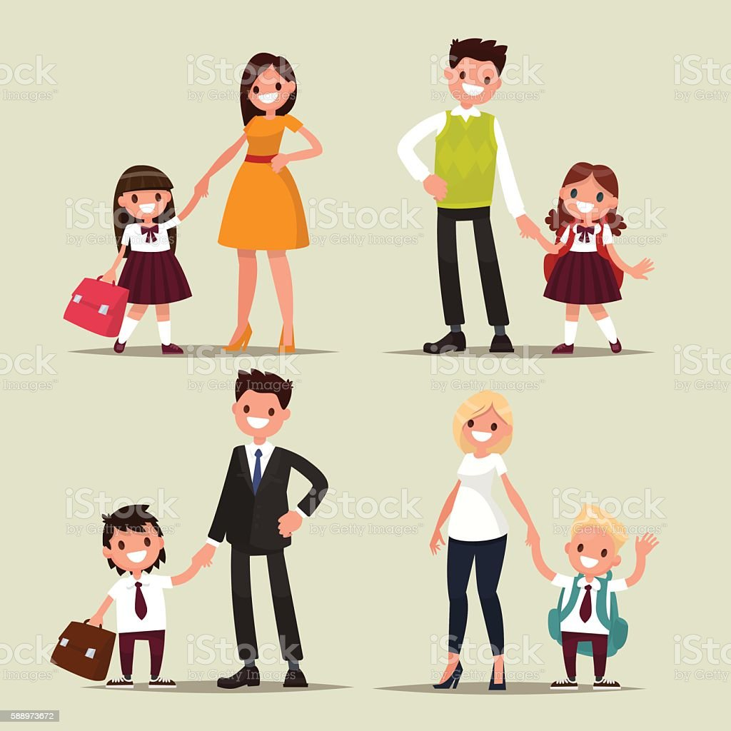 Set of characters. Parents and children are students together. B vector art illustration