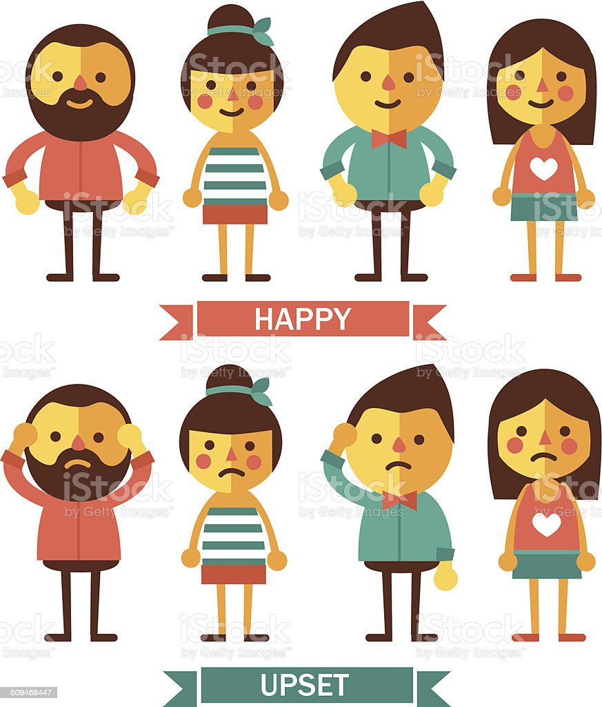 Set of characters with happy and upset emotions. vector art illustration