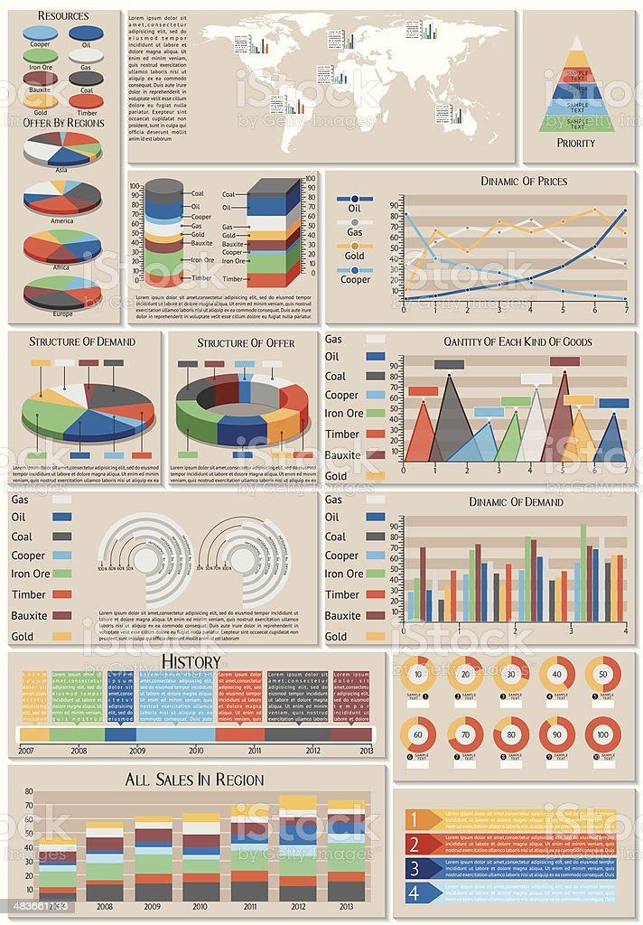 Set of charts vector art illustration