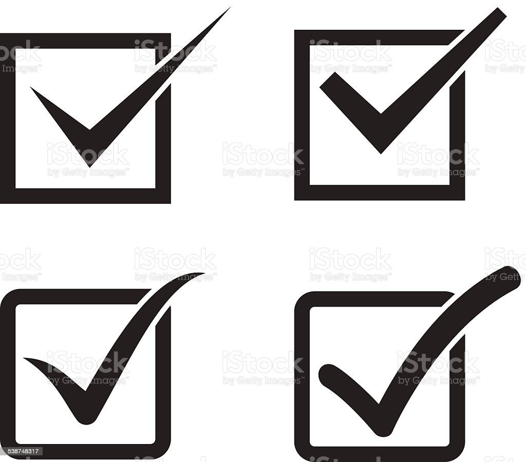 Set of check mark, check box icons vector art illustration
