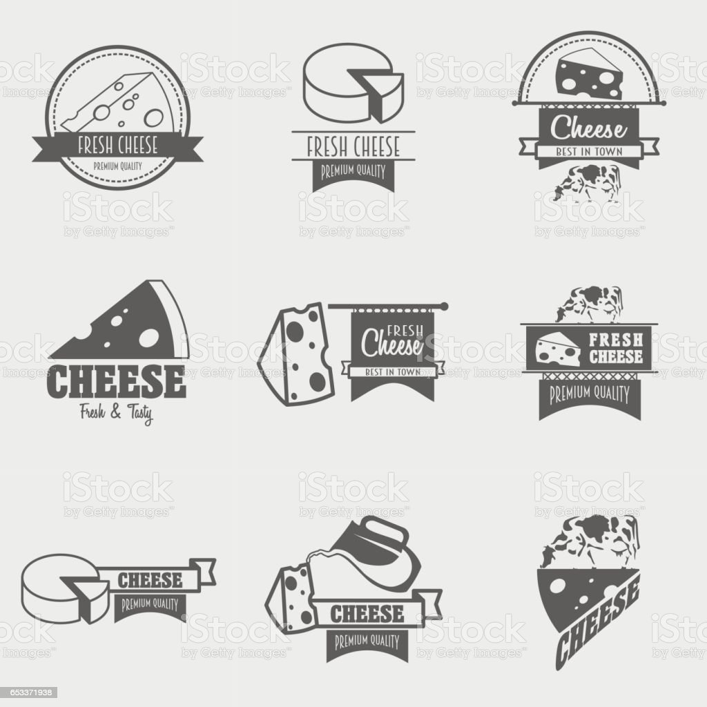Set of cheese, labels or symbol vector design templates vector art illustration