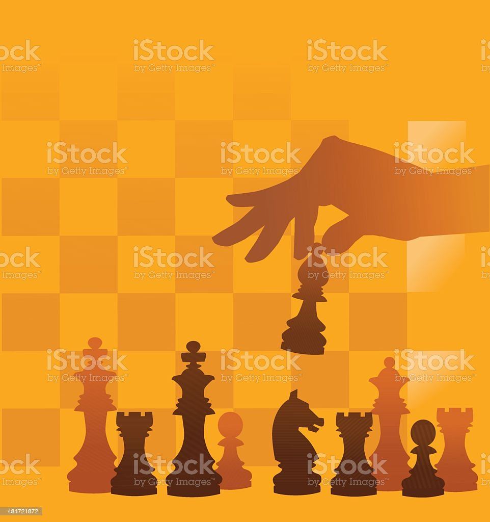 Set of Chess Pieces on Checked Background vector art illustration