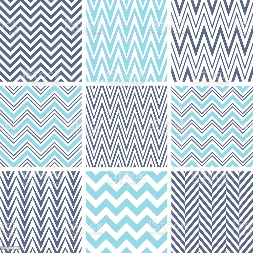 Set of chevron seamless patterns vector art illustration