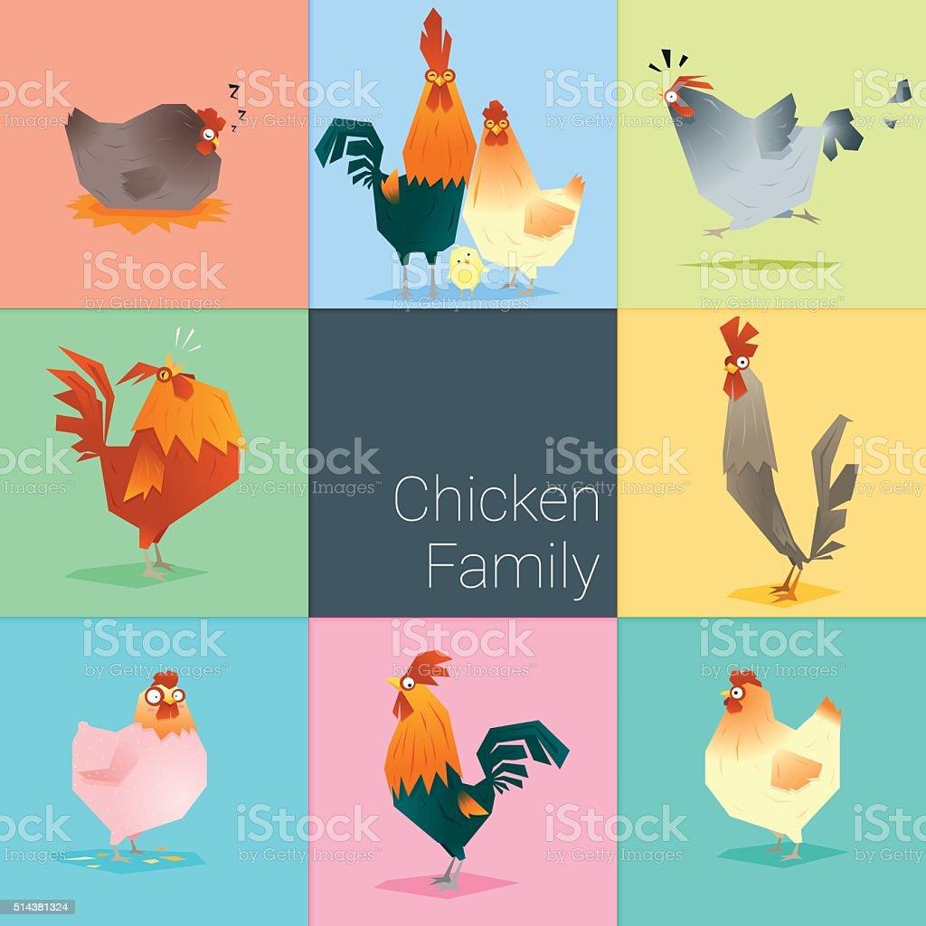 Set of chicken family vector art illustration