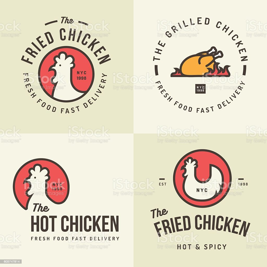 Set of chicken meat logo, badges  for food shop restaurant. vector art illustration