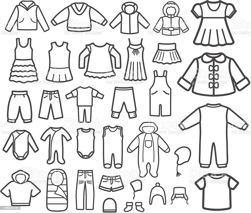 Set of Children clothing. vector art illustration