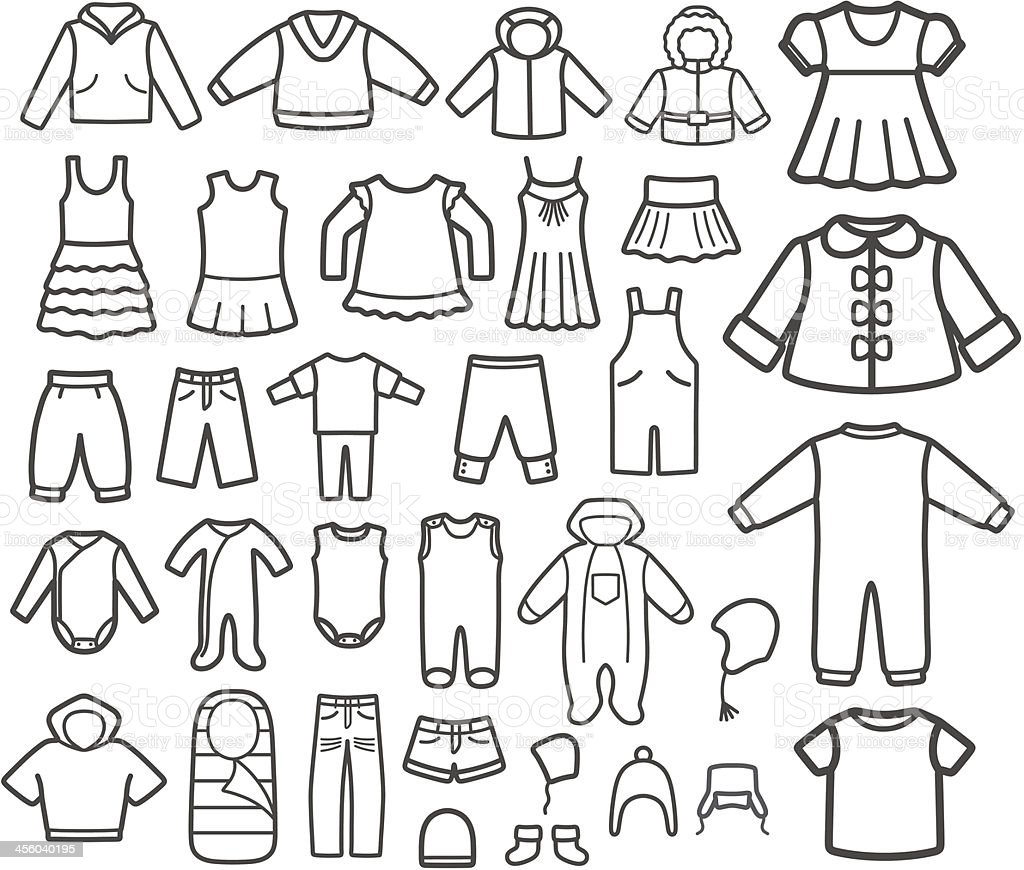 Set of Children clothing. vector art illustration