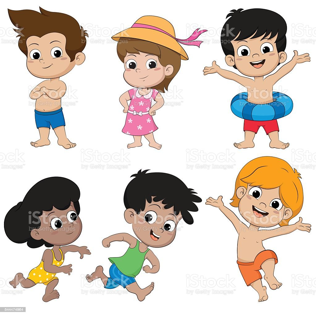 Enfants groupe de se sentir heureux sur la plage, vecteur illustrati et stock vecteur libres de droits libre de droits