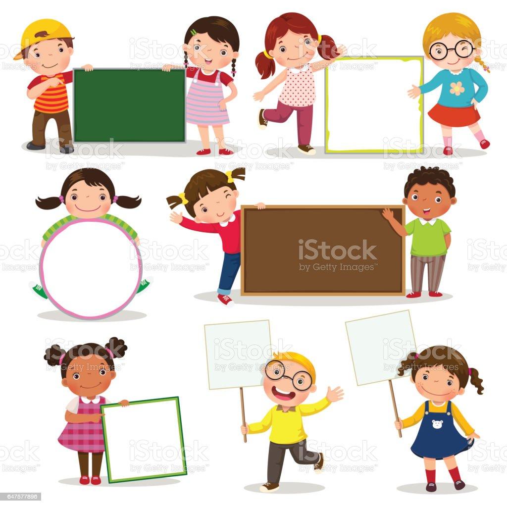 Set of children holding blank signs vector art illustration