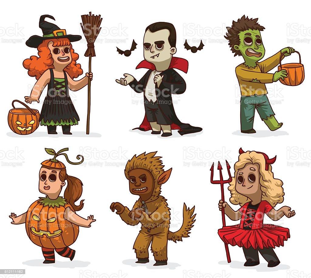 Set of children in variety Halloween costumes vector art illustration