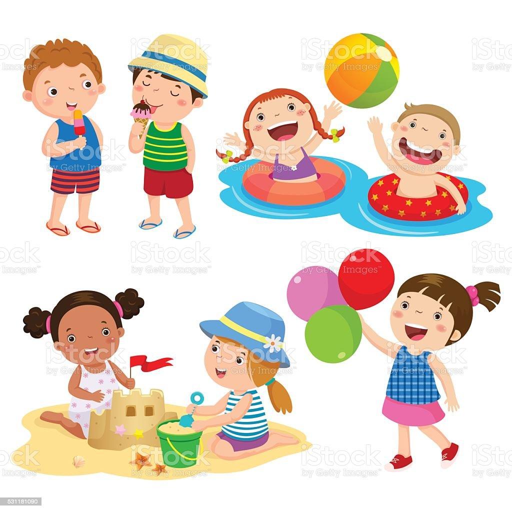 Set of children play on the beach vector art illustration