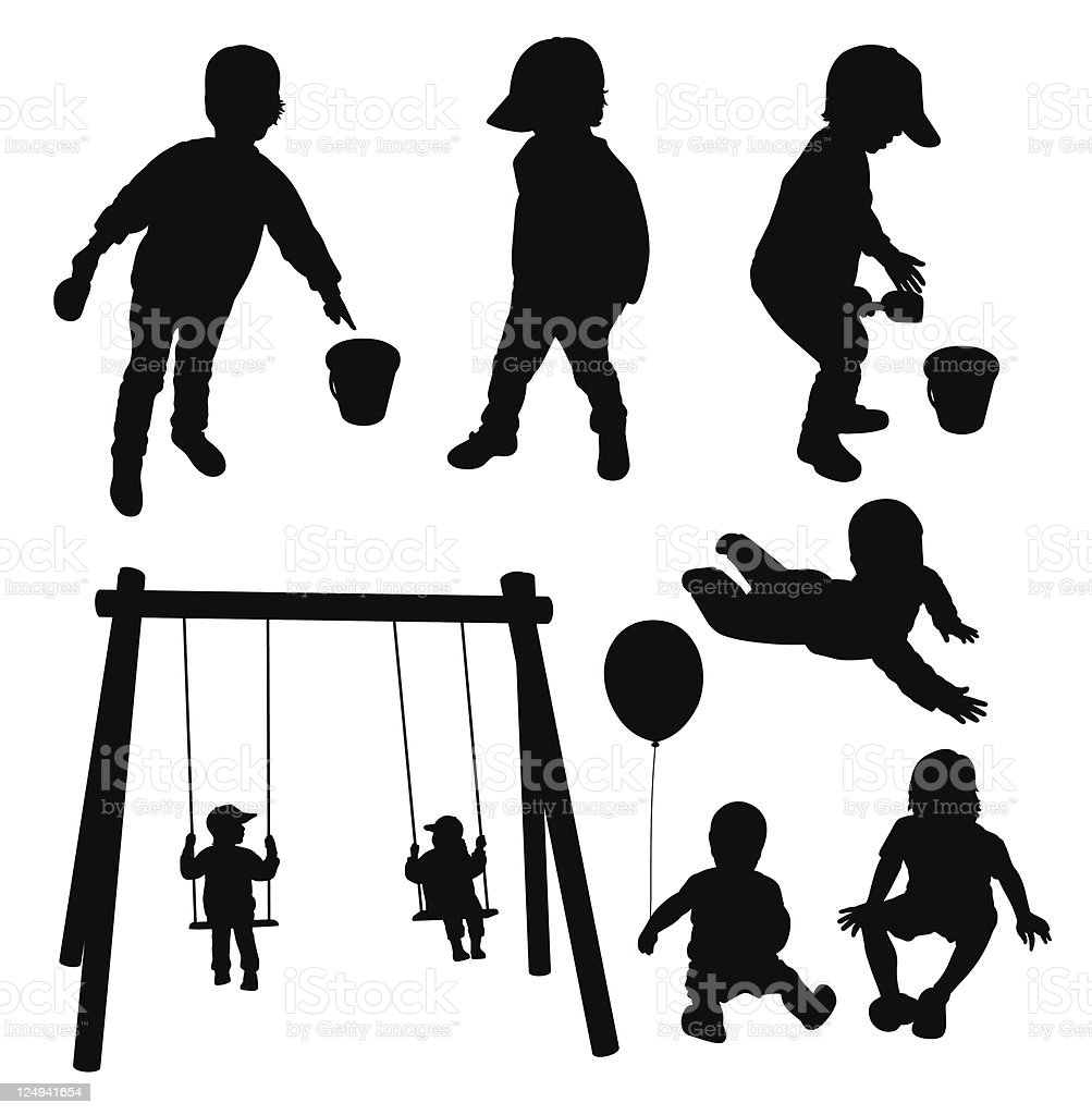 Set of children silhouettes. royalty-free stock vector art