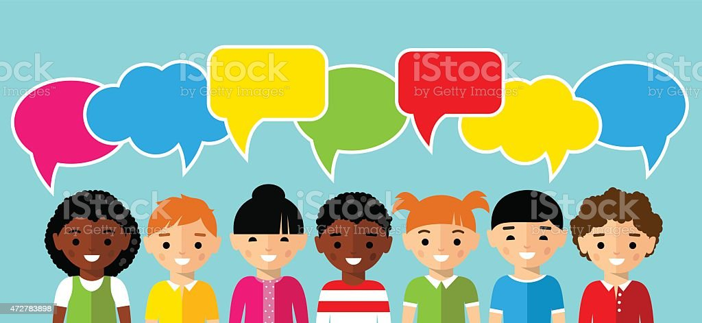 Set of children with colorful dialog speech bubbles vector art illustration