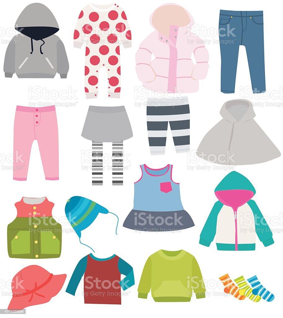 set of children's clothes vector art illustration