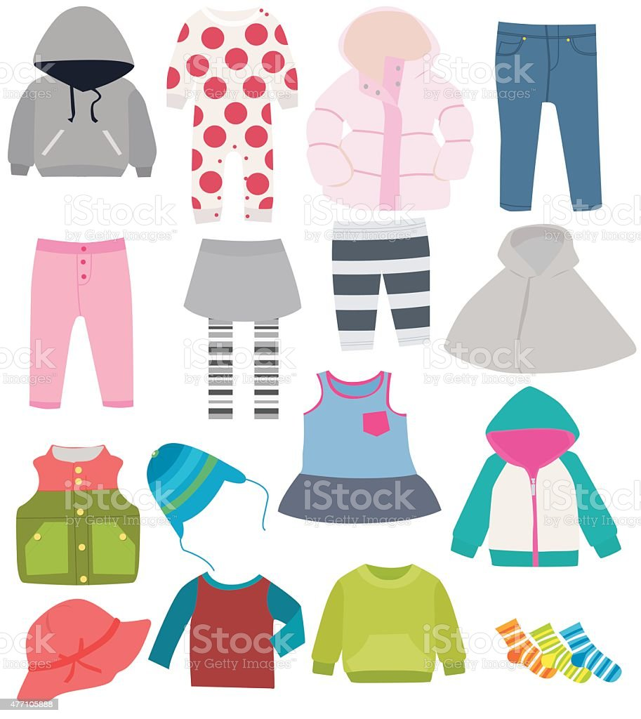 set of children's clothes vector art illustration