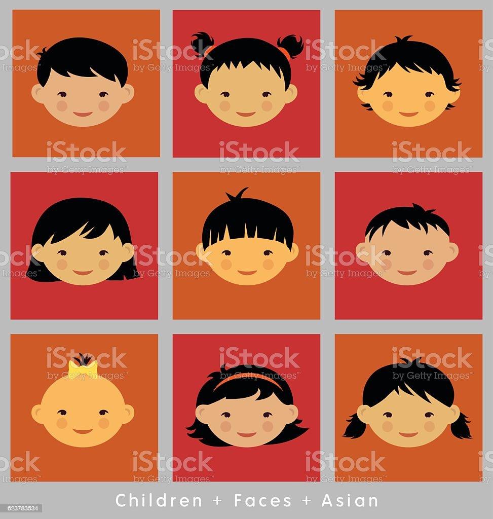 set of children's faces. Asian ethnicity.  vector flat style. vector art illustration