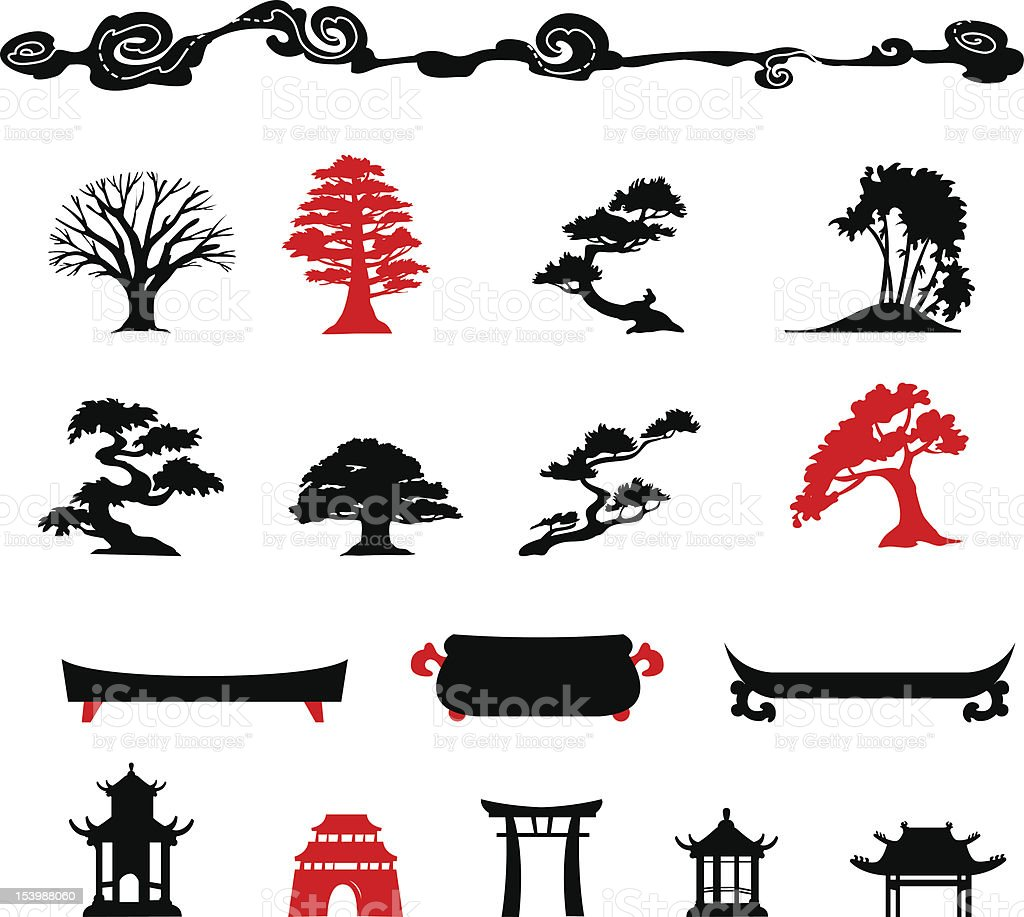Set of chines bonsai trees Isolated on white background vector art illustration