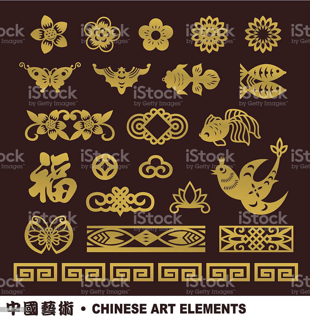 Set of Chinese art elements in yellow royalty-free stock vector art