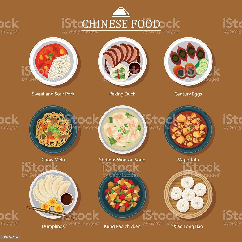 set of chinese food vector art illustration