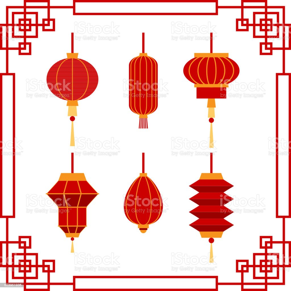 Set of Chinese Lanterns collection vector art illustration