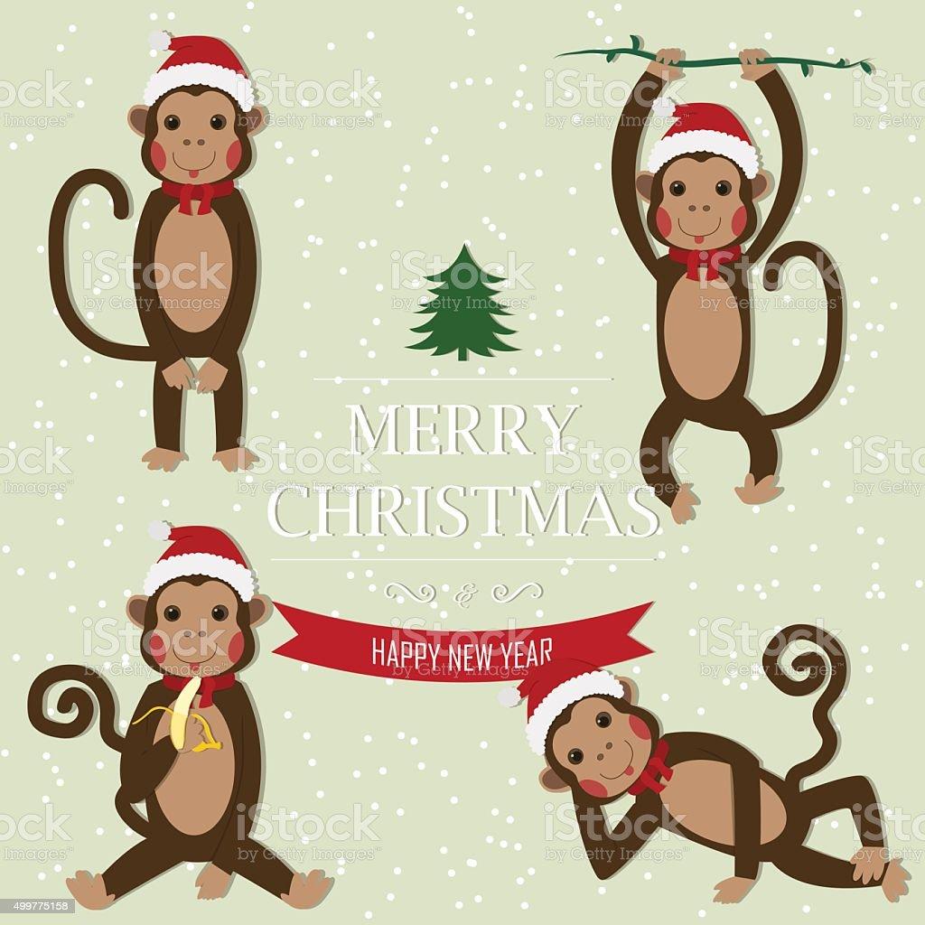 Set of Chinese Zodiac - Monkeys. royalty-free stock vector art