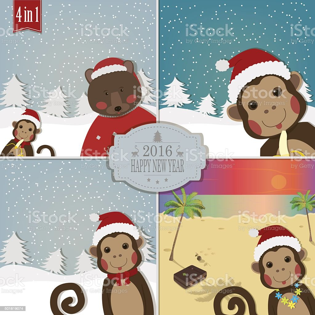 Set of Chinese Zodiac - Monkeys. Vector illustration. royalty-free stock vector art