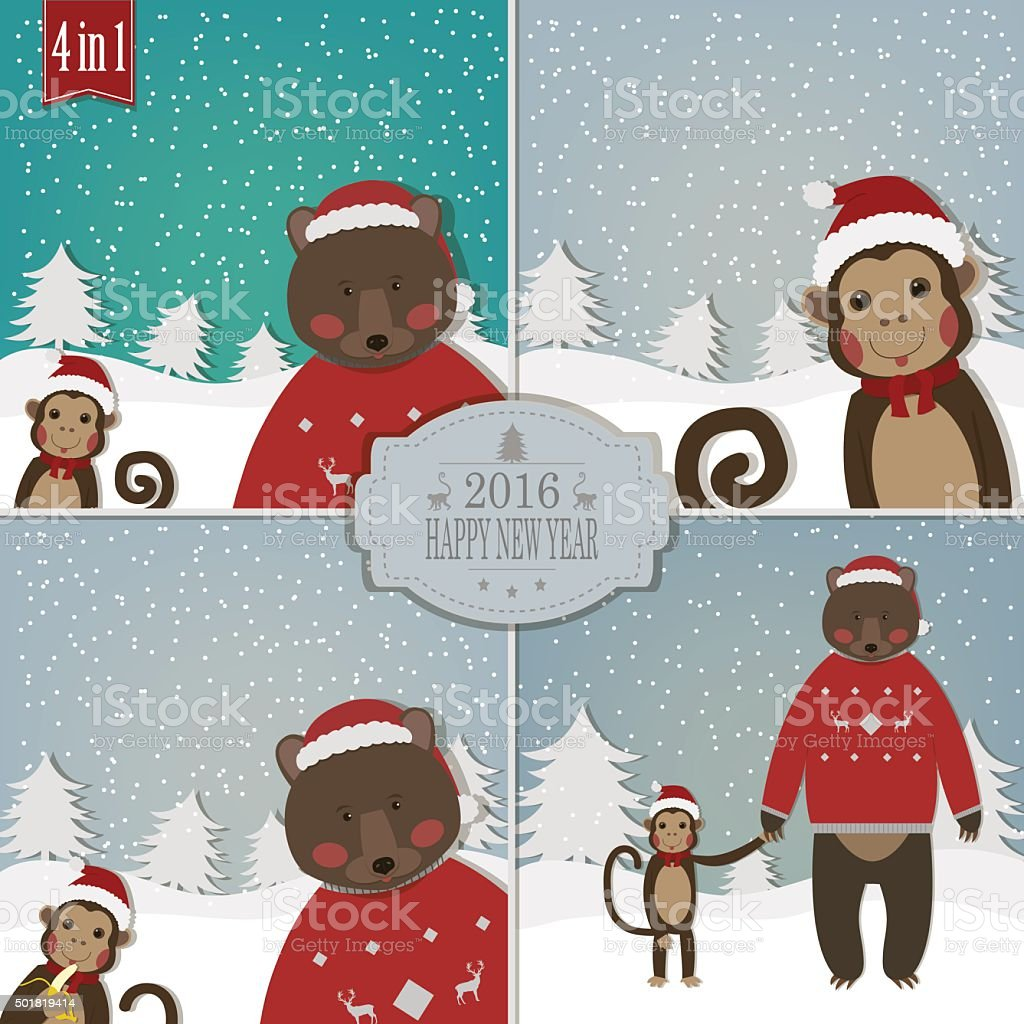 Set of Chinese Zodiac - Monkeys. Vector illustration. royalty-free stock vector art