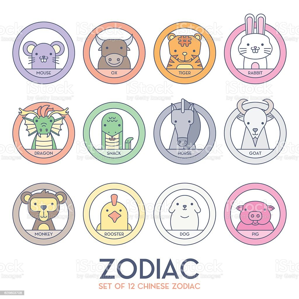 Set of Chinese Zodiac vector art illustration