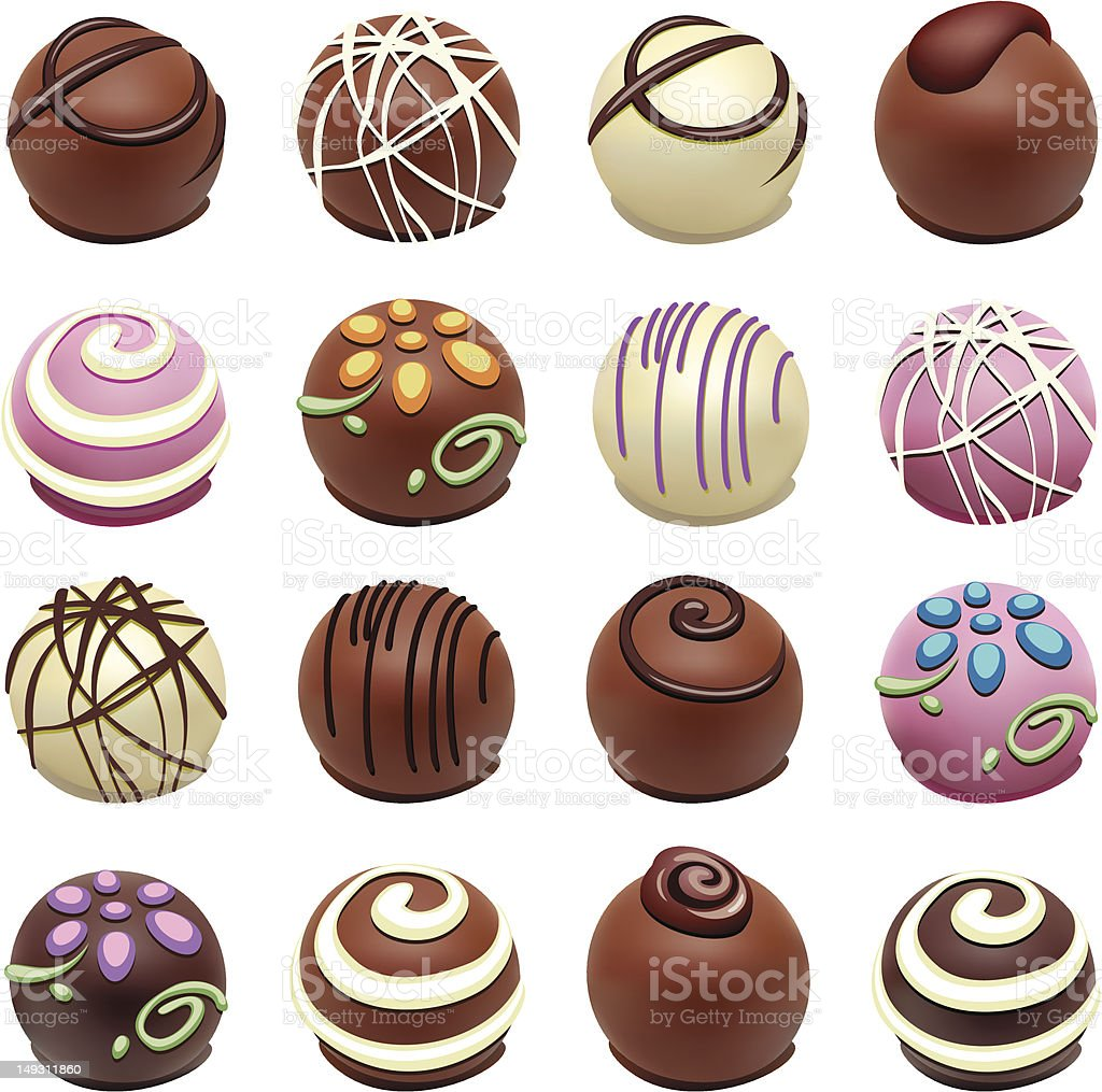 A set of chocolate candies with special designs vector art illustration