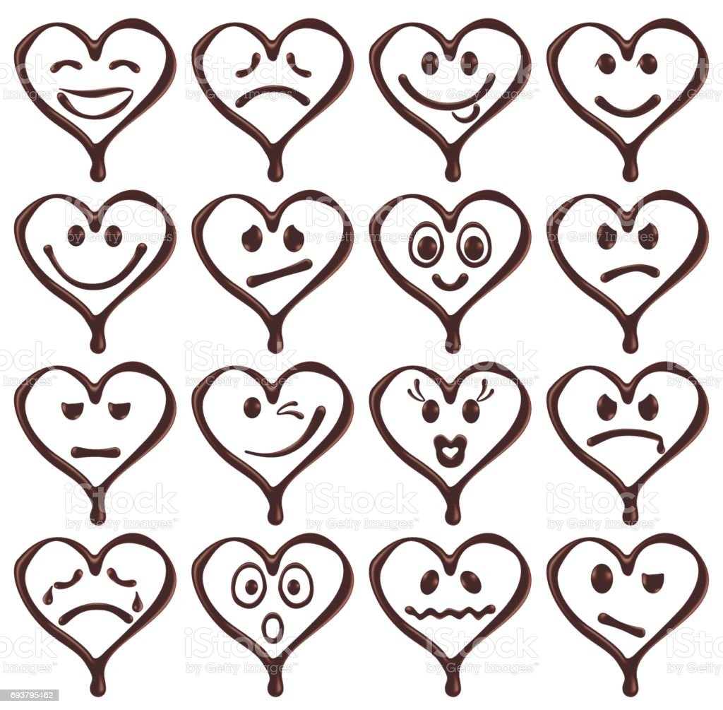 Set of chocolate heart shape smiley faces vector art illustration