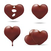 set of chocolate love hearts on white background, vector icon