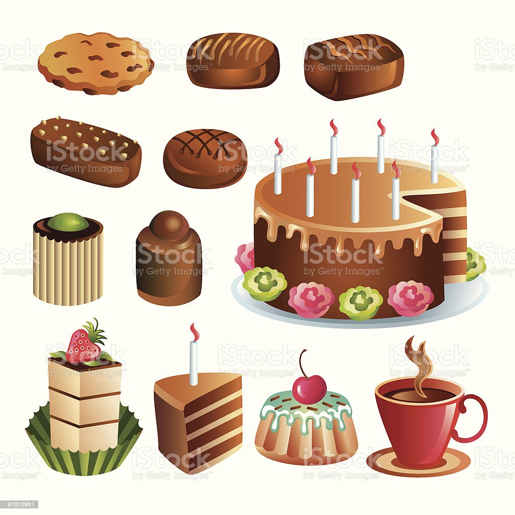 Set of chocolate sweets and cakes vector art illustration