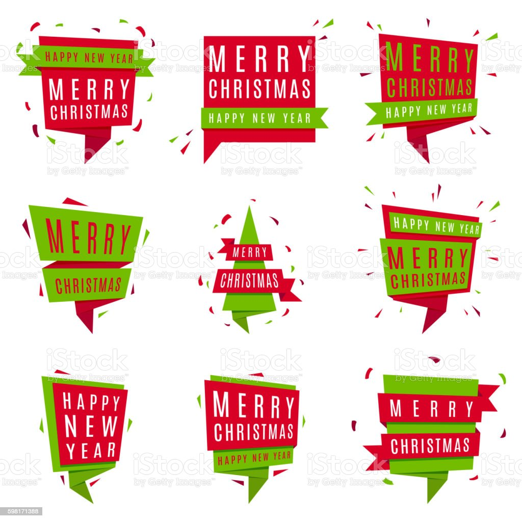 Set of Christmas and New Year banners royalty-free stock vector art