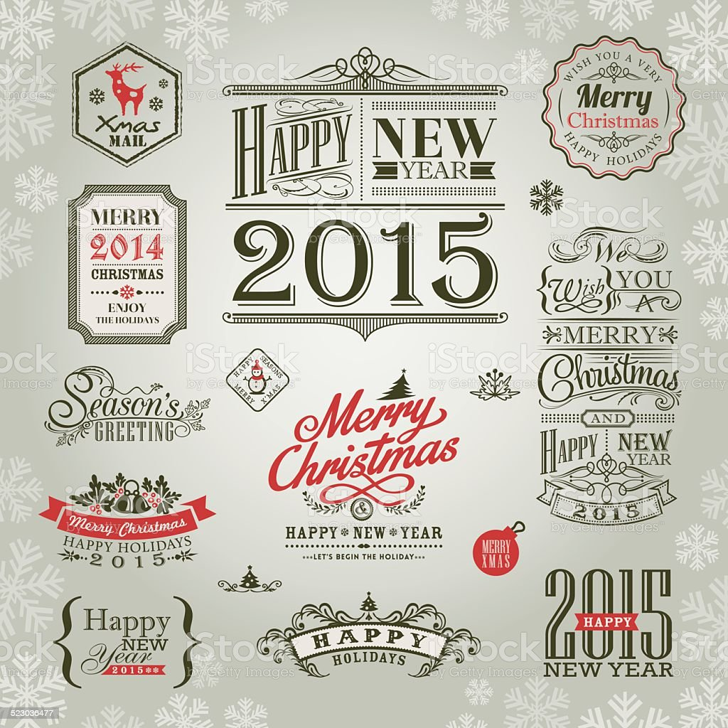 set of christmas and new year design elements vector art illustration
