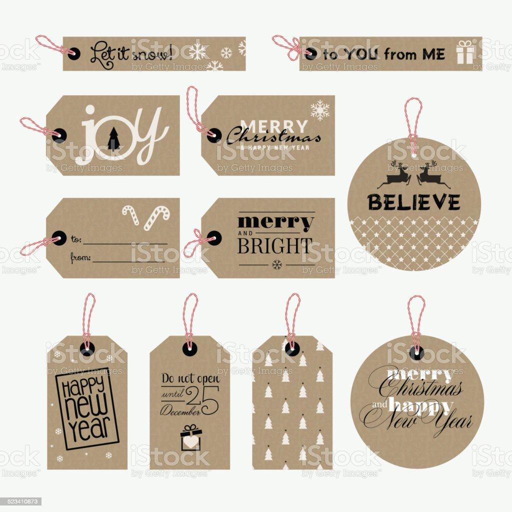 Set de Navidad y Año Nuevo etiquetas de regalo illustracion libre de derechos libre de derechos