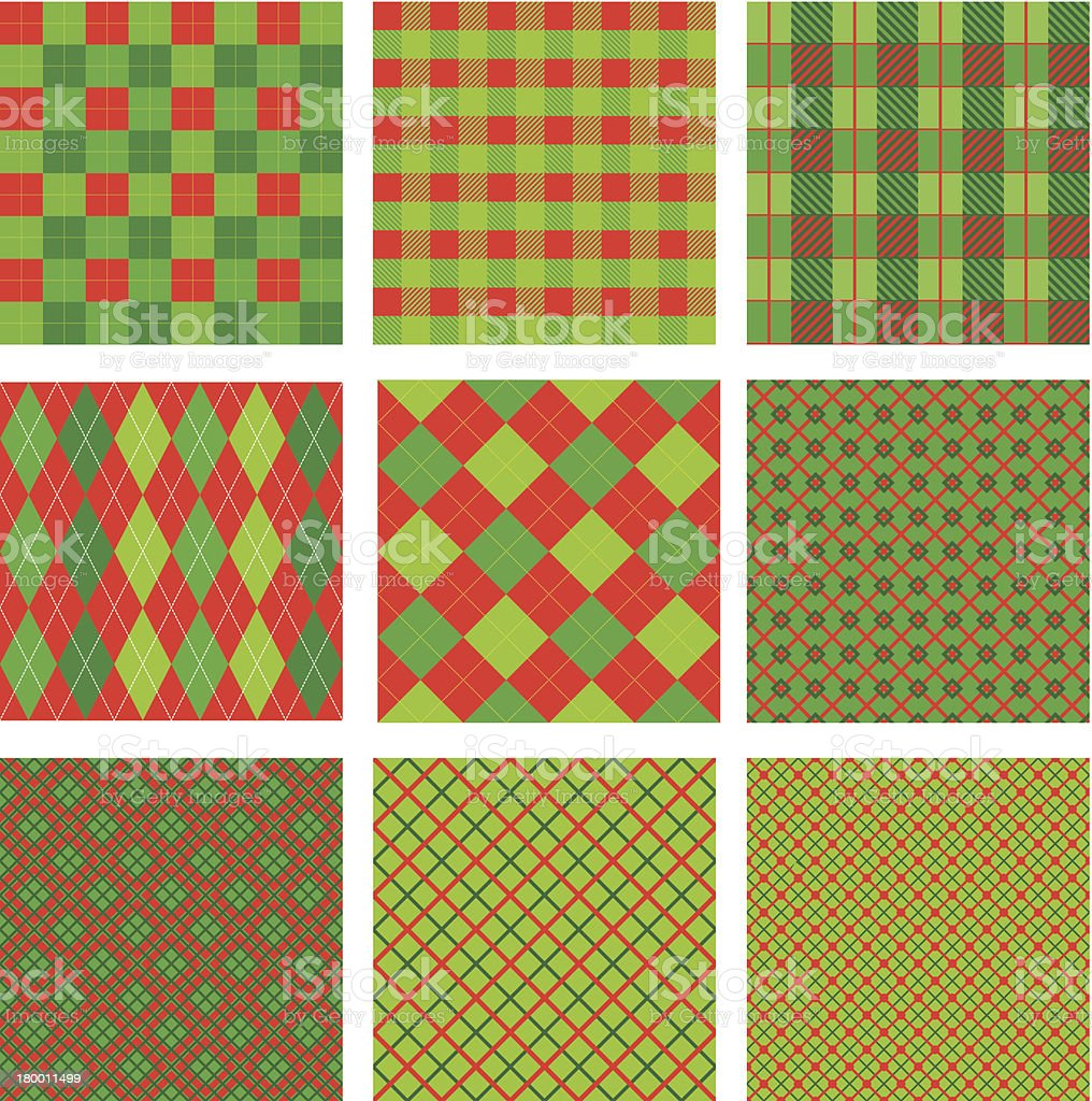 Set of Christmas and New Year plaid seamless patterns royalty-free stock vector art
