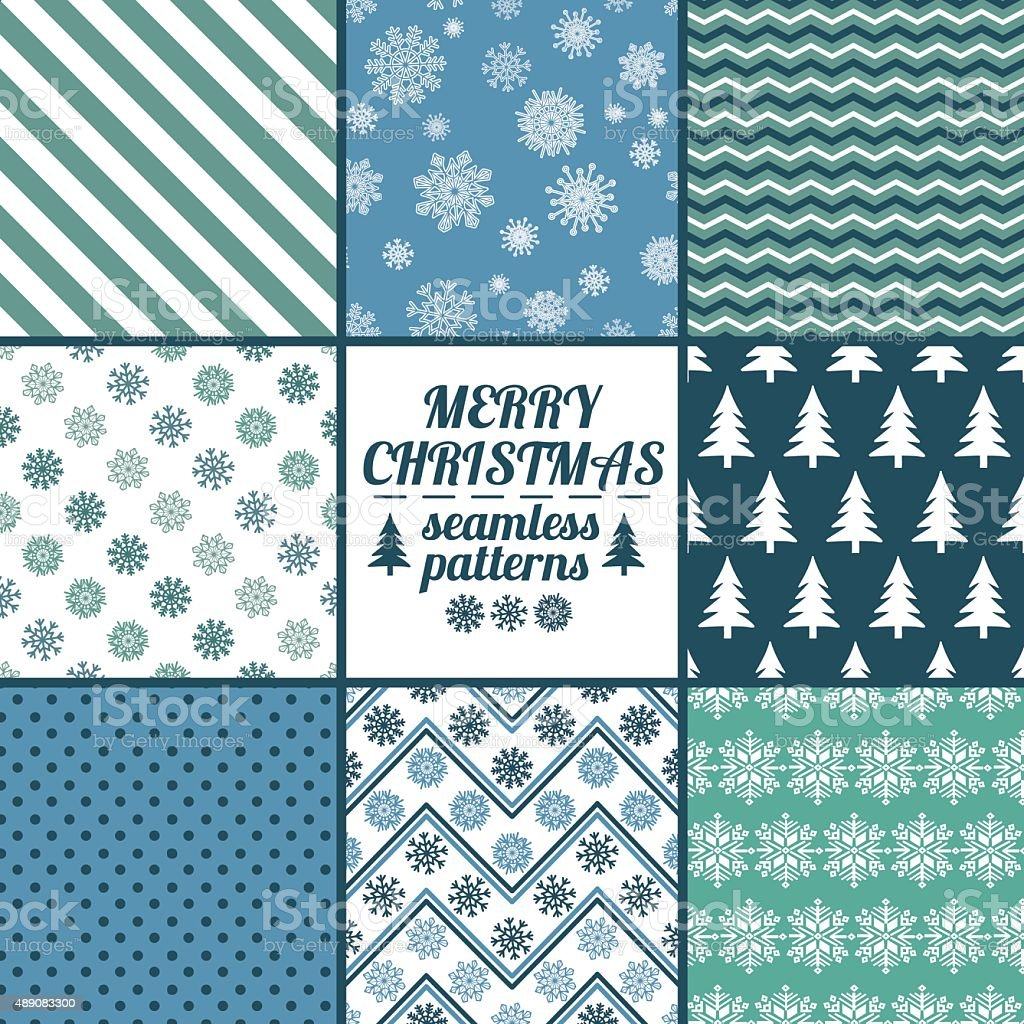 Set Of Christmas And New Year Seamless Patterns. vector art illustration